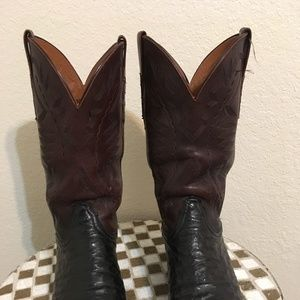 BLACKLUCCHESE OSTRICH WESTERN COWBOY BOOTS 10EE